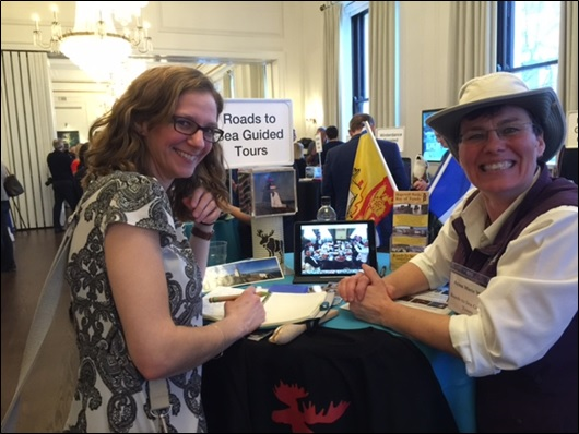 Anna-Marie Weir, Roads to Sea, New Brunswick chats with UK tour operator  Liz Lunnon, Discover the World at the 2016 Canada Shared in London, England.