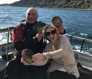 Gina Dolecki and Rick Stanley of Ocean Quest. Fresh scallops for dinner during the Taste Beneath The Sea adventure in NL.