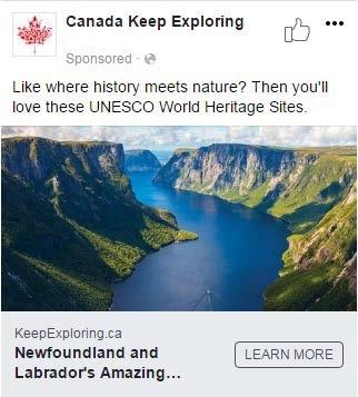 Publication Facebook d'Accueillir l'Amérique – Terre Neuve et Labrador