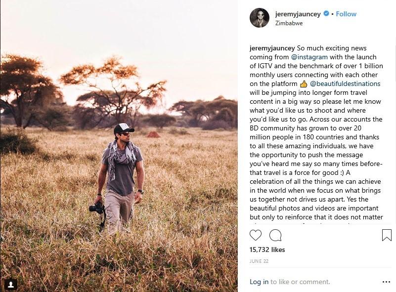 Jeremy Jauncey, fondateur et PDG, @beautifuldestinations. Image utilisée avec permission de @jeremyjauncey.